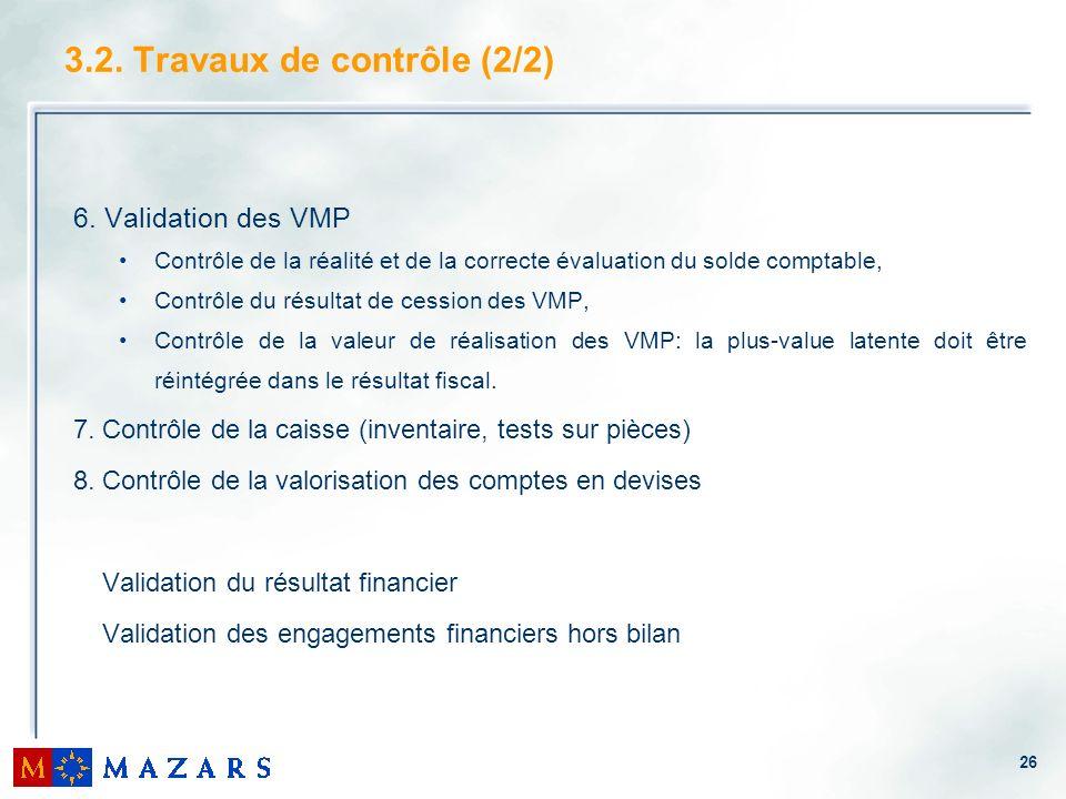 26 3.2. Travaux de contrôle (2/2) 6. Validation des VMP Contrôle de la réalité et de la correcte évaluation du solde comptable, Contrôle du résultat d
