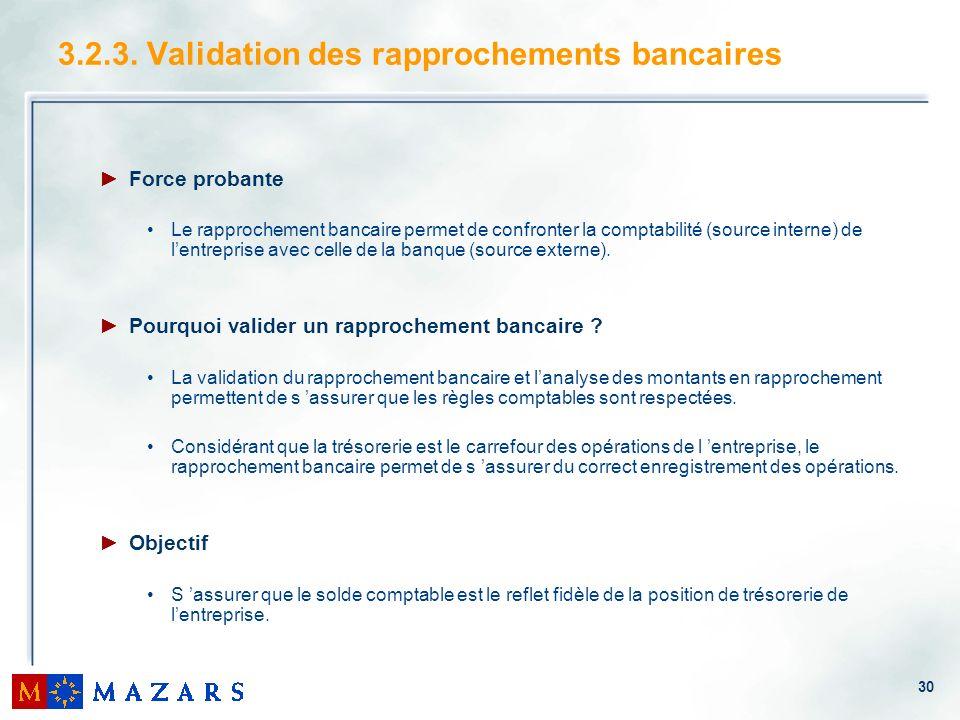 30 3.2.3. Validation des rapprochements bancaires Force probante Le rapprochement bancaire permet de confronter la comptabilité (source interne) de le