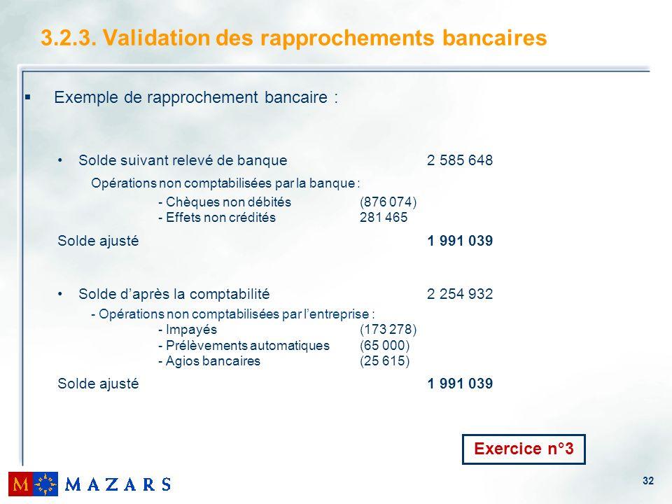 32 3.2.3. Validation des rapprochements bancaires Exemple de rapprochement bancaire : Solde suivant relevé de banque2 585 648 Opérations non comptabil