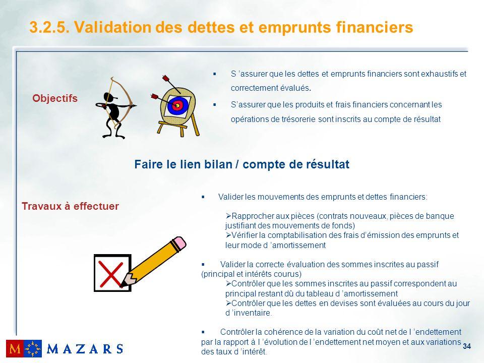 34 3.2.5. Validation des dettes et emprunts financiers Travaux à effectuer Objectifs S assurer que les dettes et emprunts financiers sont exhaustifs e