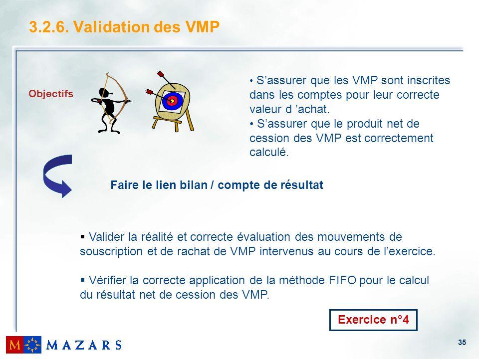 35 3.2.6. Validation des VMP Objectifs Sassurer que les VMP sont inscrites dans les comptes pour leur correcte valeur d achat. Sassurer que le produit