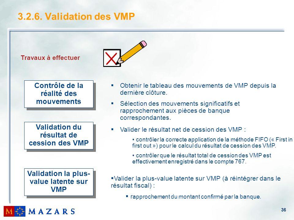 36 3.2.6. Validation des VMP Travaux à effectuer Contrôle de la réalité des mouvements Validation du résultat de cession des VMP Validation la plus- v
