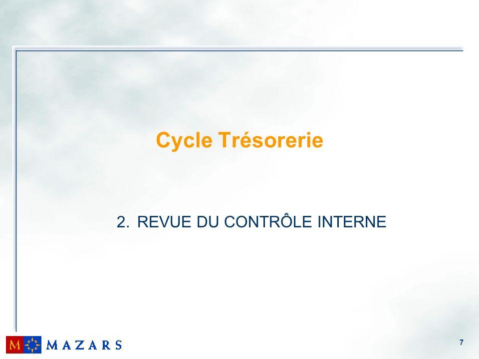 8 2.1.Objectifs du contrôle interne pour le cycle Trésorerie 2.2.