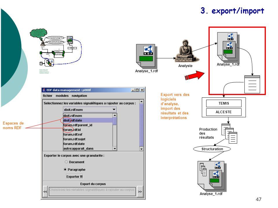 48 Analyste TEMIS ALCESTE Structuration Analyse_1.rdf Production des résultats Export vers des logiciels danalyse, import des résultats et des interprétations 3.