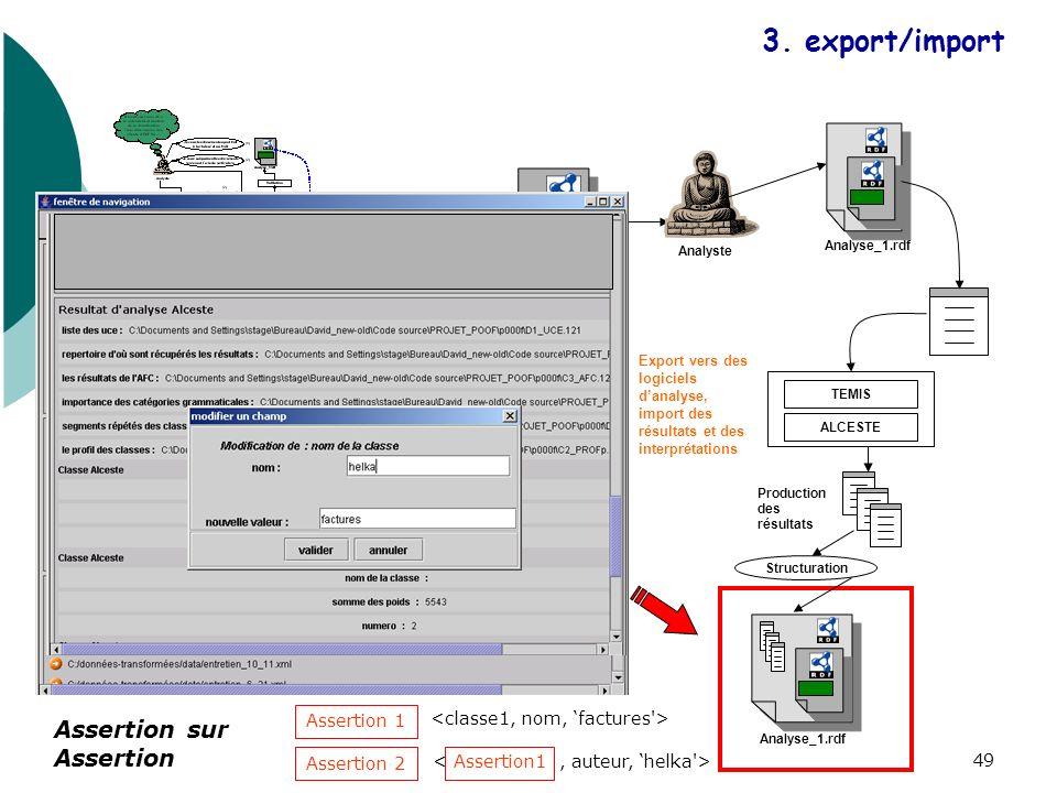 49 Analyse_1.rdf Analyste TEMIS ALCESTE Structuration Analyse_1.rdf Production des résultats Export vers des logiciels danalyse, import des résultats