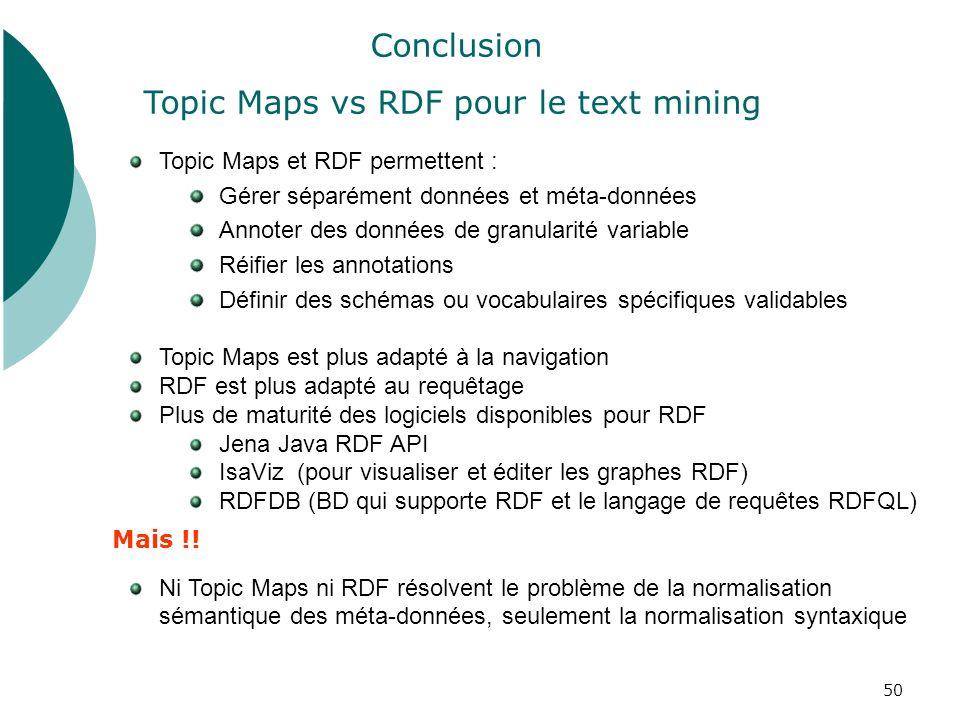 50 Topic Maps et RDF permettent : Gérer séparément données et méta-données Annoter des données de granularité variable Réifier les annotations Définir