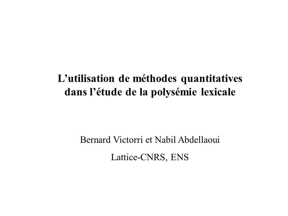 Lutilisation de méthodes quantitatives dans létude de la polysémie lexicale Bernard Victorri et Nabil Abdellaoui Lattice-CNRS, ENS