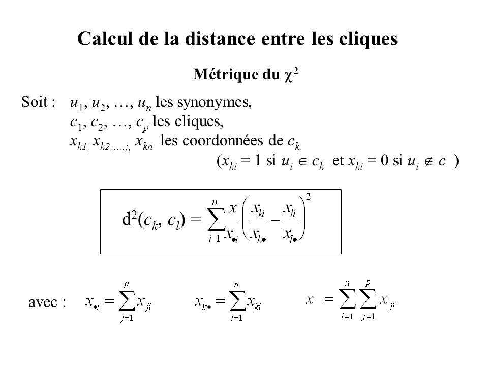 Métrique du 2 Soit : u 1, u 2, …, u n les synonymes, c 1, c 2, …, c p les cliques, x k1, x k2,….;, x kn les coordonnées de c k, (x ki = 1 si u i c k e
