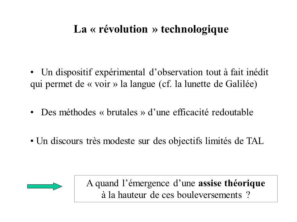 La « révolution » technologique Un dispositif expérimental dobservation tout à fait inédit qui permet de « voir » la langue (cf. la lunette de Galilée