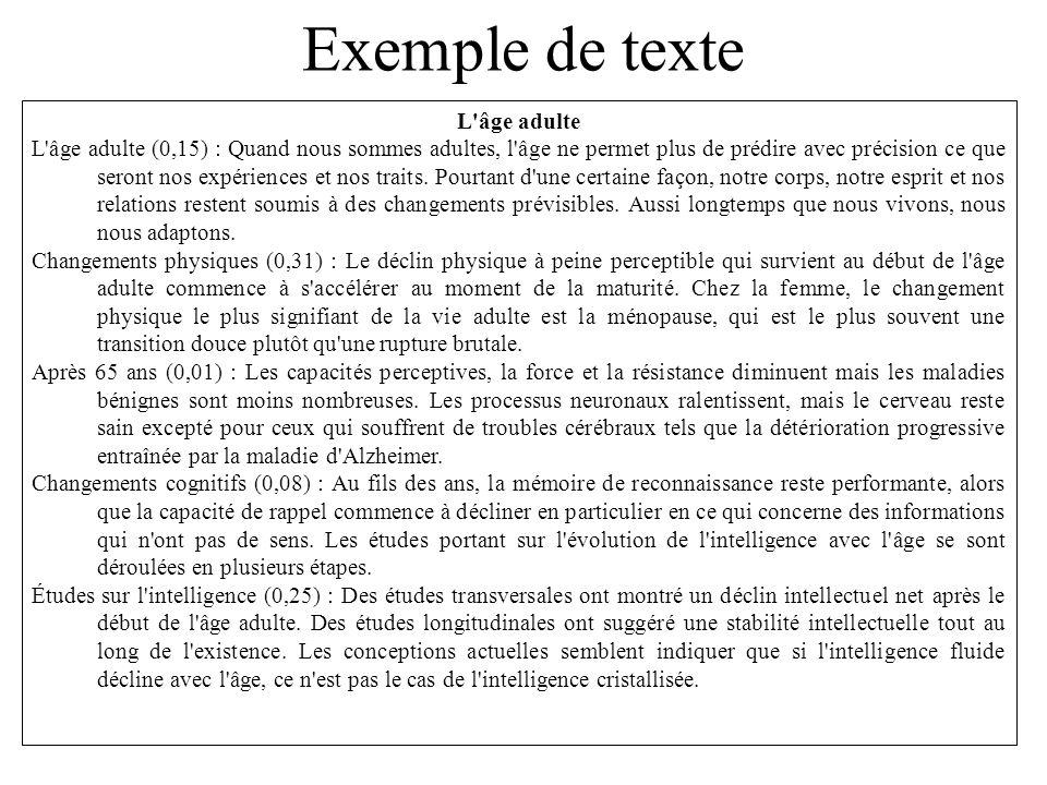 Exemple de texte L âge adulte L âge adulte (0,15) : Quand nous sommes adultes, l âge ne permet plus de prédire avec précision ce que seront nos expériences et nos traits.