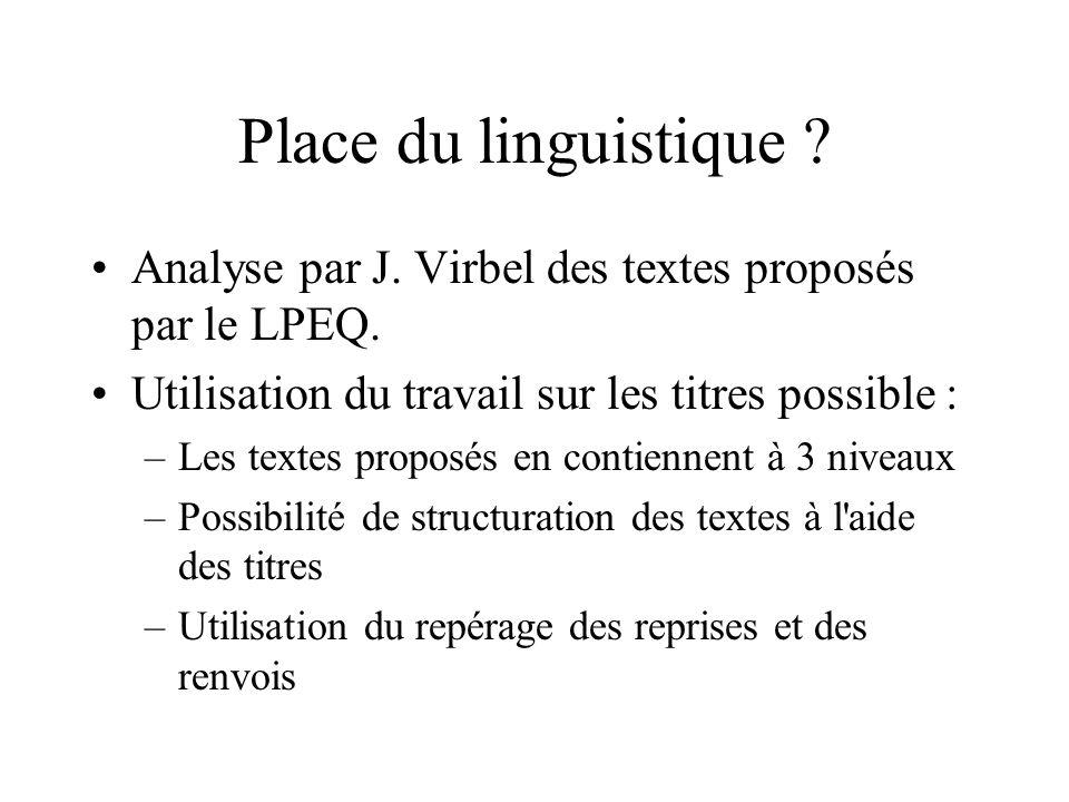 Place du linguistique . Analyse par J. Virbel des textes proposés par le LPEQ.