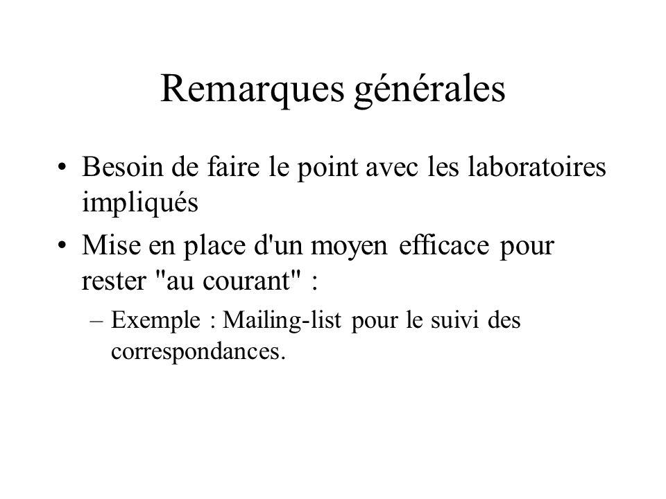 Remarques générales Besoin de faire le point avec les laboratoires impliqués Mise en place d un moyen efficace pour rester au courant : –Exemple : Mailing-list pour le suivi des correspondances.
