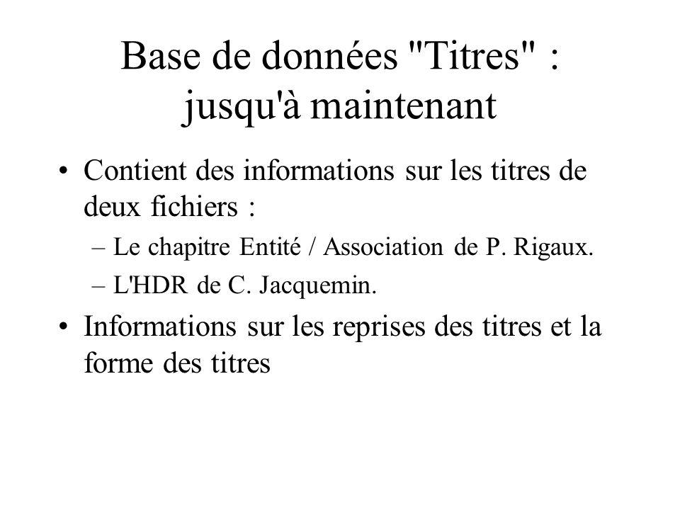Base de données Titres : jusqu à maintenant Contient des informations sur les titres de deux fichiers : –Le chapitre Entité / Association de P.