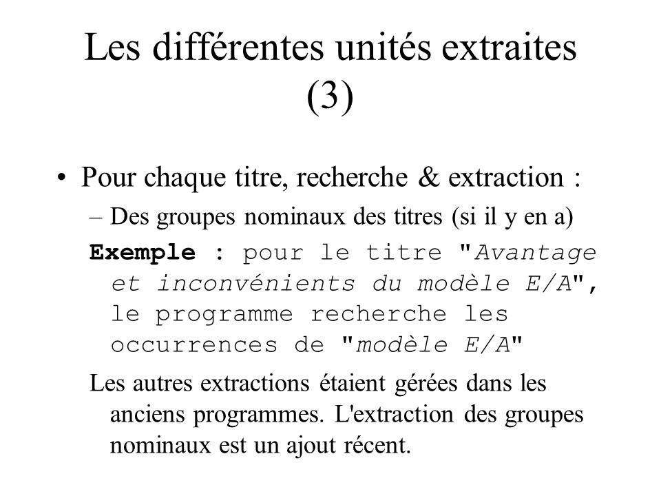 Les différentes unités extraites (3) Pour chaque titre, recherche & extraction : –Des groupes nominaux des titres (si il y en a) Exemple : pour le titre Avantage et inconvénients du modèle E/A , le programme recherche les occurrences de modèle E/A Les autres extractions étaient gérées dans les anciens programmes.