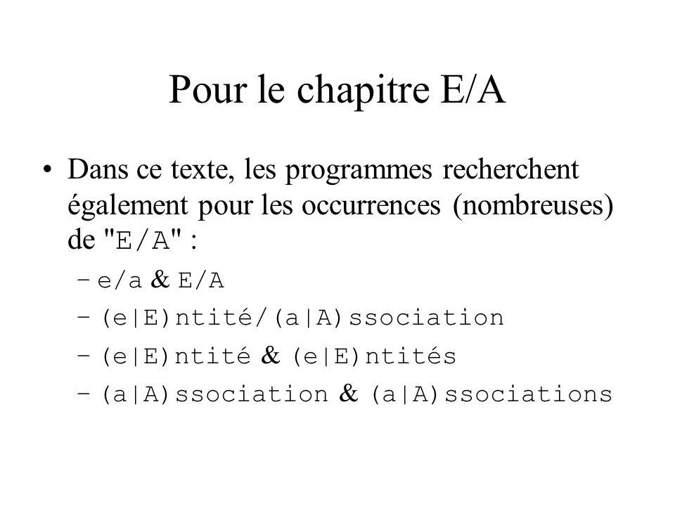 Pour le chapitre E/A Dans ce texte, les programmes recherchent également pour les occurrences (nombreuses) de E/A : –e/a & E/A –(e|E)ntité/(a|A)ssociation –(e|E)ntité & (e|E)ntités –(a|A)ssociation & (a|A)ssociations