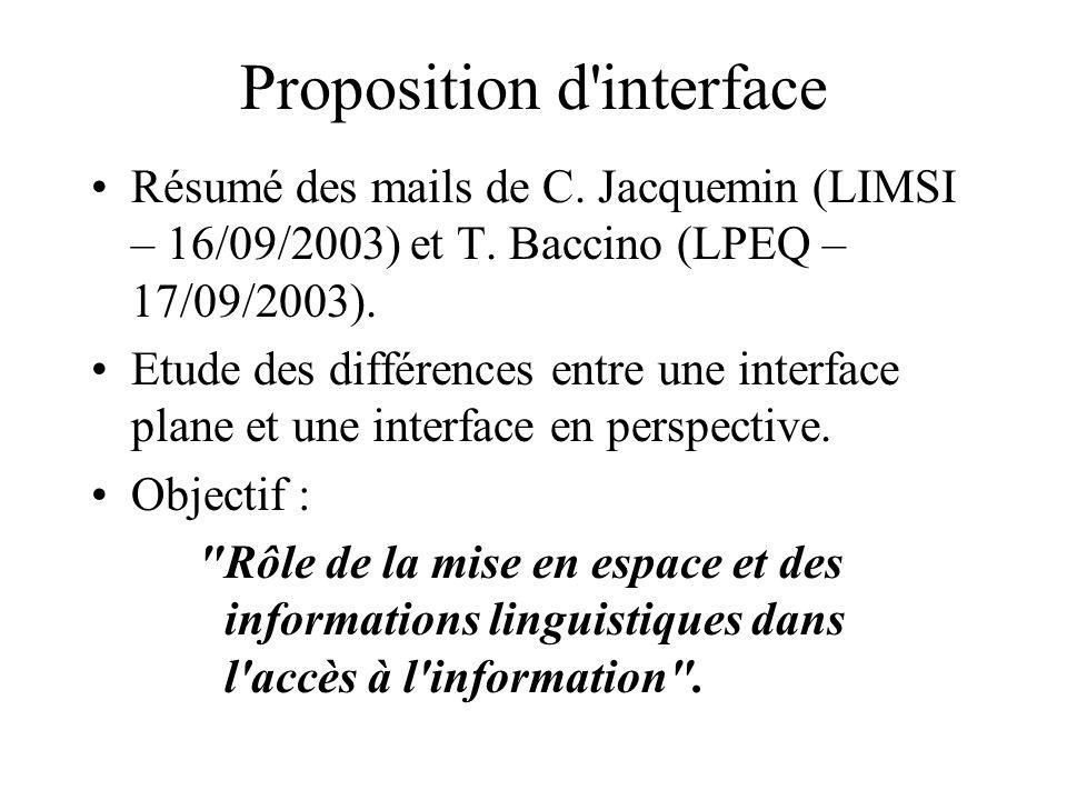 Proposition d interface Résumé des mails de C. Jacquemin (LIMSI – 16/09/2003) et T.