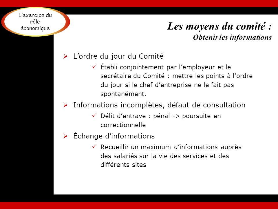 Les moyens du comité : Obtenir les informations Lordre du jour du Comité Établi conjointement par lemployeur et le secrétaire du Comité : mettre les p