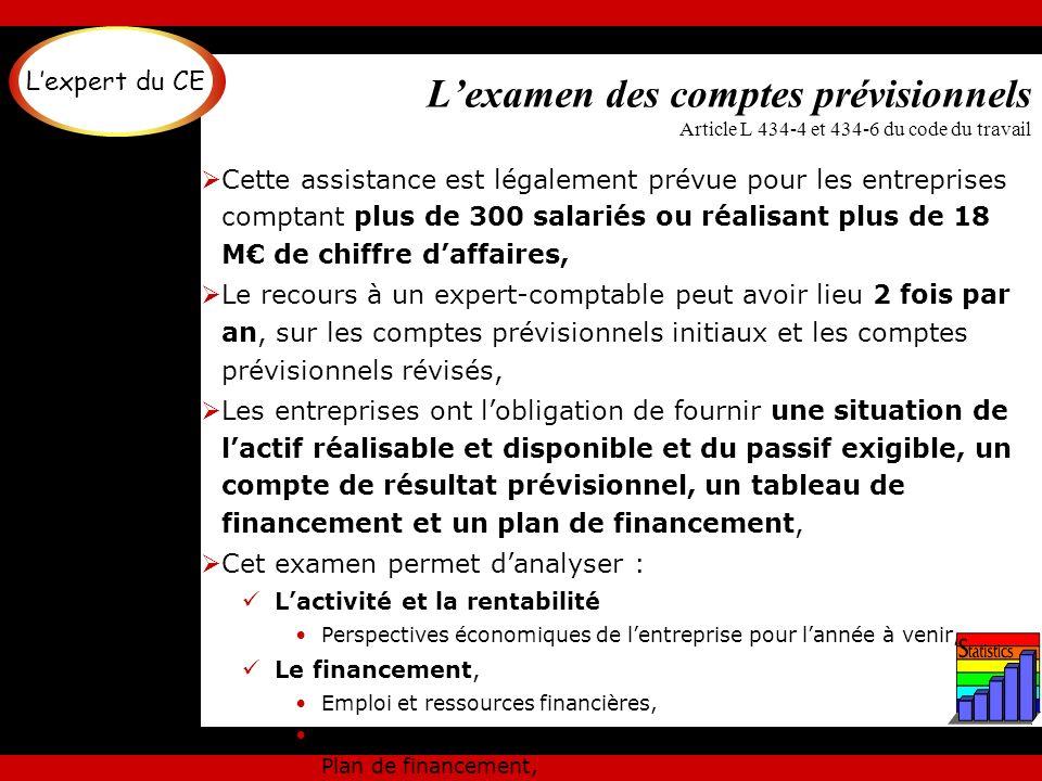 Lexamen des comptes prévisionnels Article L 434-4 et 434-6 du code du travail Cette assistance est légalement prévue pour les entreprises comptant plu