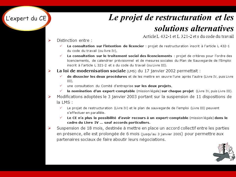 Le projet de restructuration et les solutions alternatives Article L 432-1 et L 321-2 et s du code du travail Distinction entre : La consultation sur