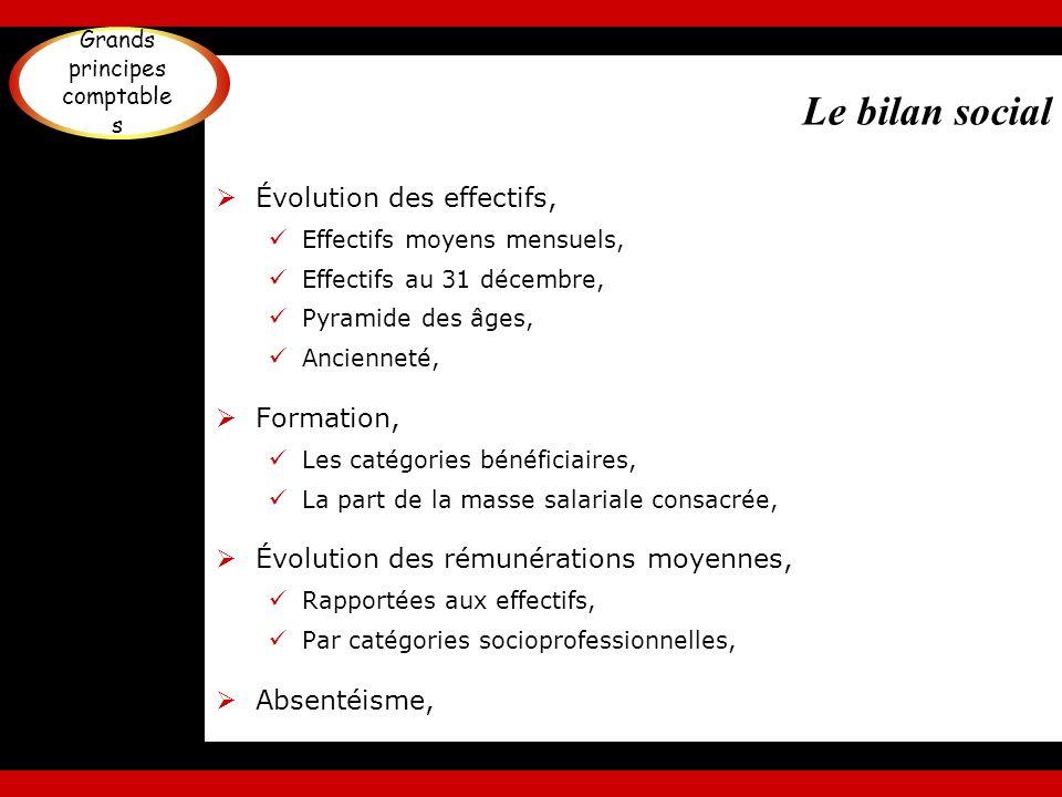 Le bilan social Évolution des effectifs, Effectifs moyens mensuels, Effectifs au 31 décembre, Pyramide des âges, Ancienneté, Formation, Les catégories