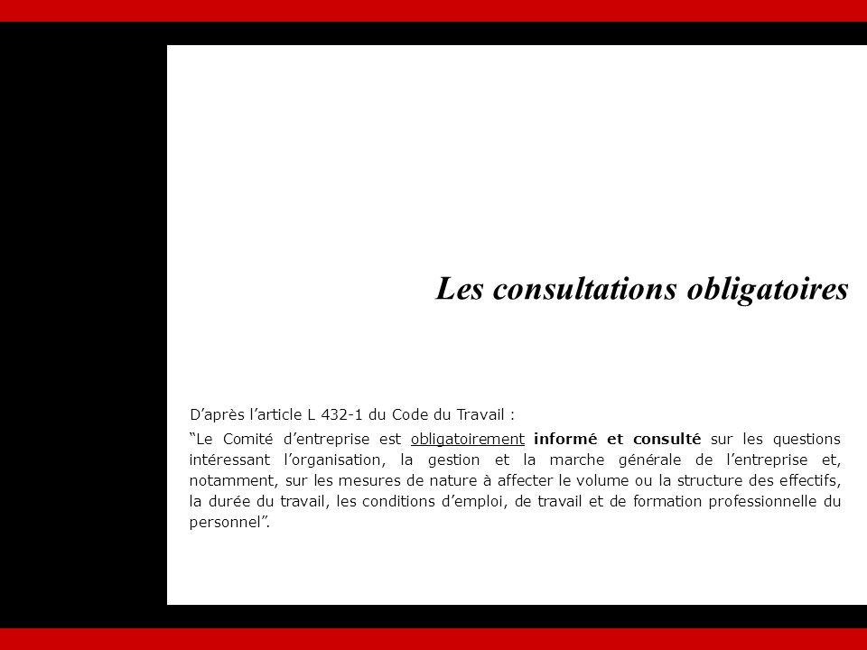 La consultation est définie par larticle L 431-5 du code du travail, loi ayant consacré le rôle consultatif reconnu du CE Décision de lemployeur après un avis du CE Pour formuler un avis motivé, le comité doit disposer : dinformations écrites, dun délai dexamen suffisant, dune réponse motivée.