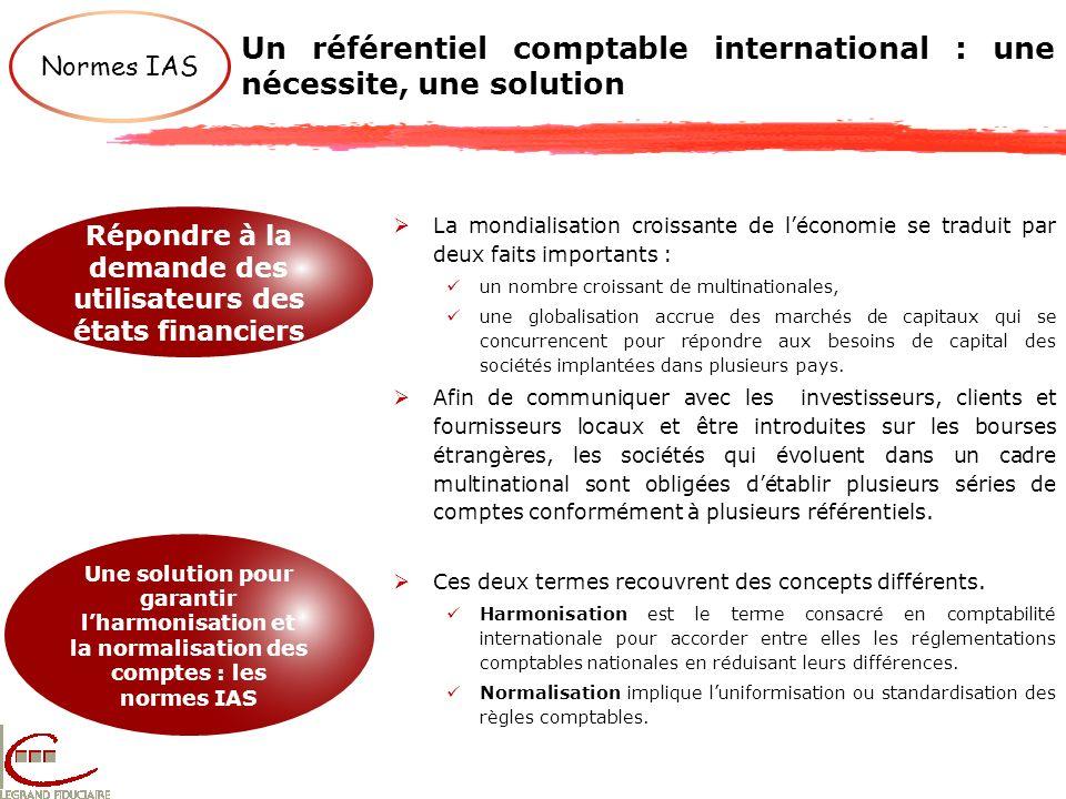 Un référentiel comptable international : une nécessite, une solution Normes IAS Répondre à la demande des utilisateurs des états financiers Une soluti