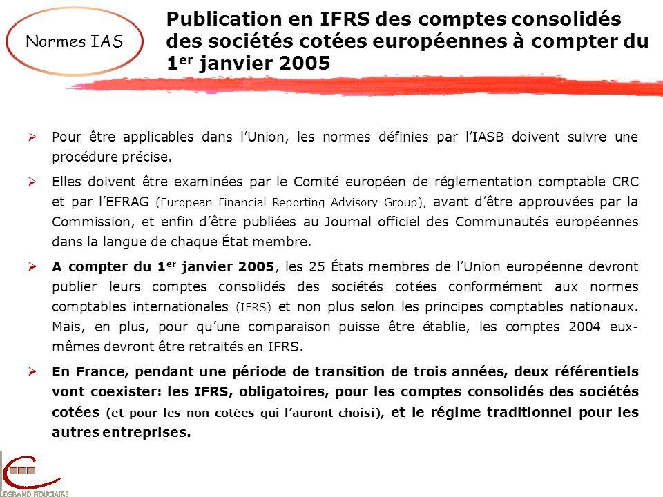 Publication en IFRS des comptes consolidés des sociétés cotées européennes à compter du 1 er janvier 2005 Normes IAS Pour être applicables dans lUnion