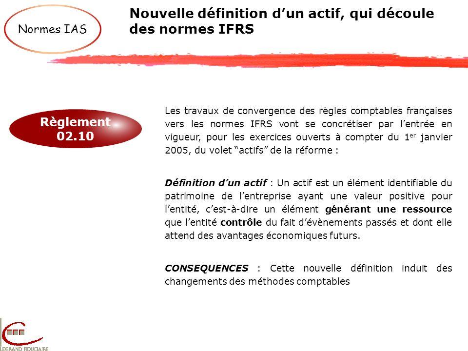 Nouvelle définition dun actif, qui découle des normes IFRS Règlement 02.10 Normes IAS Les travaux de convergence des règles comptables françaises vers