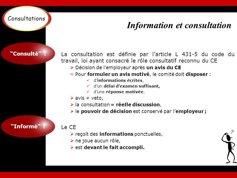 Information et consultation Linformation du CE : Quantitative : Évolution des commandes, Comptes annuels, Bilan social, Situation de lemploi.