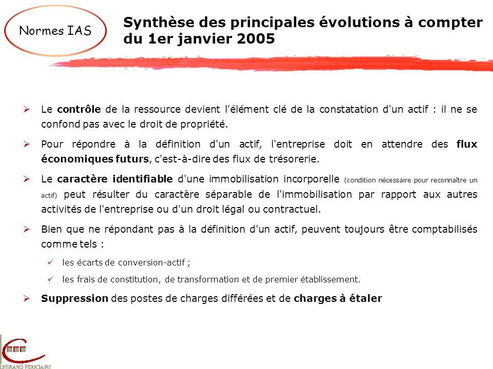 Synthèse des principales évolutions à compter du 1er janvier 2005 Normes IAS Le contrôle de la ressource devient l'élément clé de la constatation d'un