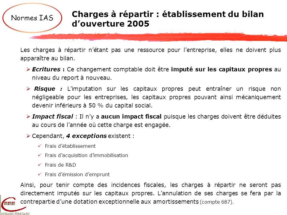 Charges à répartir : établissement du bilan douverture 2005 Normes IAS Les charges à répartir nétant pas une ressource pour lentreprise, elles ne doiv