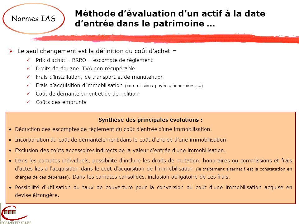 Méthode dévaluation dun actif à la date dentrée dans le patrimoine … Synthèse des principales évolutions : Déduction des escomptes de règlement du coû