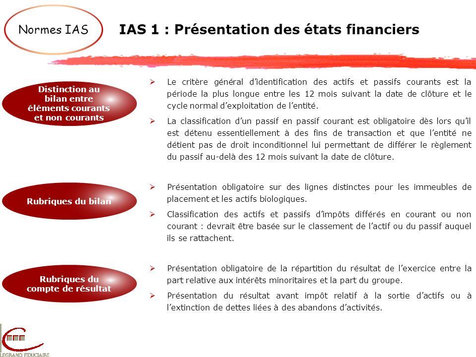 IAS 1 : Présentation des états financiers Normes IAS Distinction au bilan entre éléments courants et non courants Rubriques du bilan Rubriques du comp