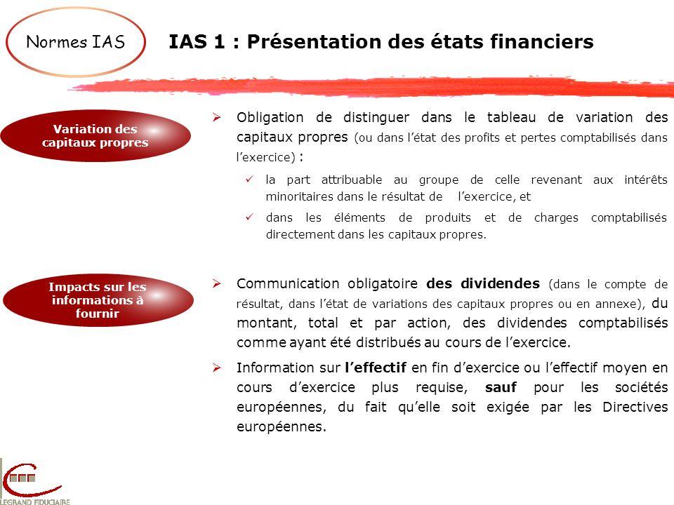 IAS 1 : Présentation des états financiers Normes IAS Variation des capitaux propres Impacts sur les informations à fournir Obligation de distinguer da