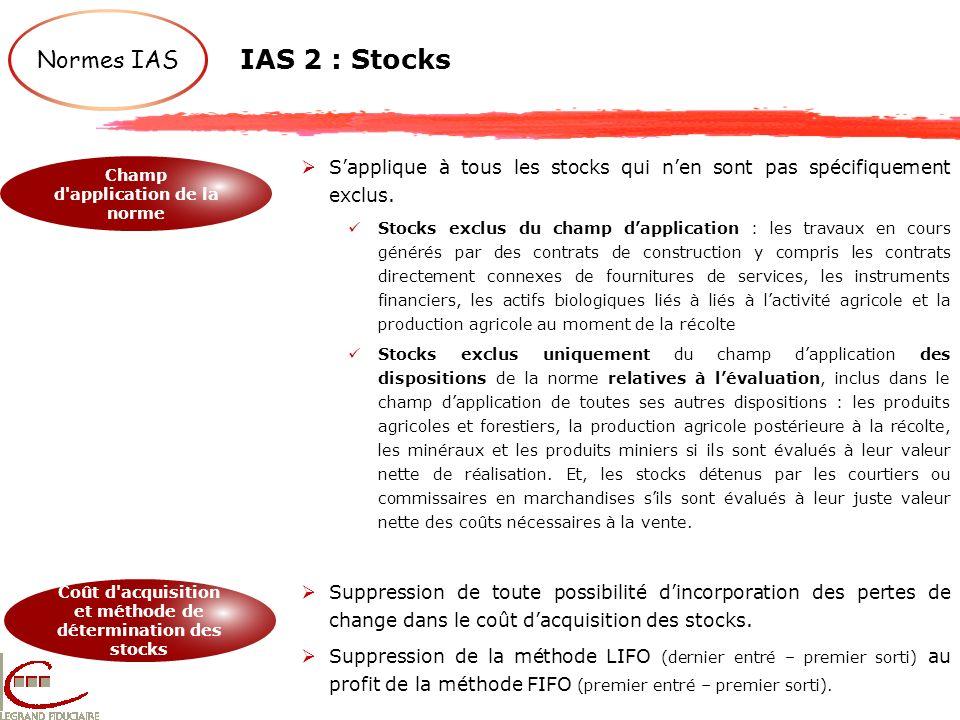 IAS 2 : Stocks Normes IAS Champ d'application de la norme Coût d'acquisition et méthode de détermination des stocks Sapplique à tous les stocks qui ne