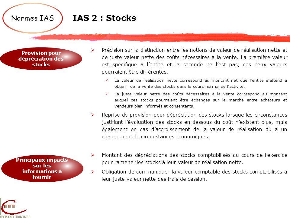 IAS 2 : Stocks Normes IAS Provision pour dépréciation des stocks Principaux impacts sur les informations à fournir Précision sur la distinction entre