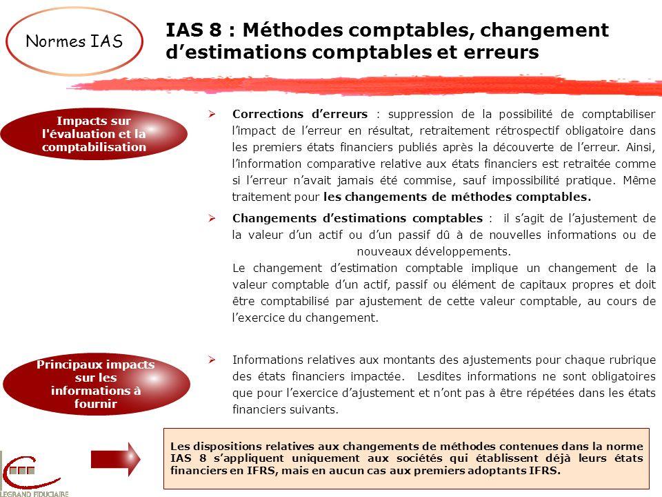 IAS 8 : Méthodes comptables, changement destimations comptables et erreurs Les dispositions relatives aux changements de méthodes contenues dans la no