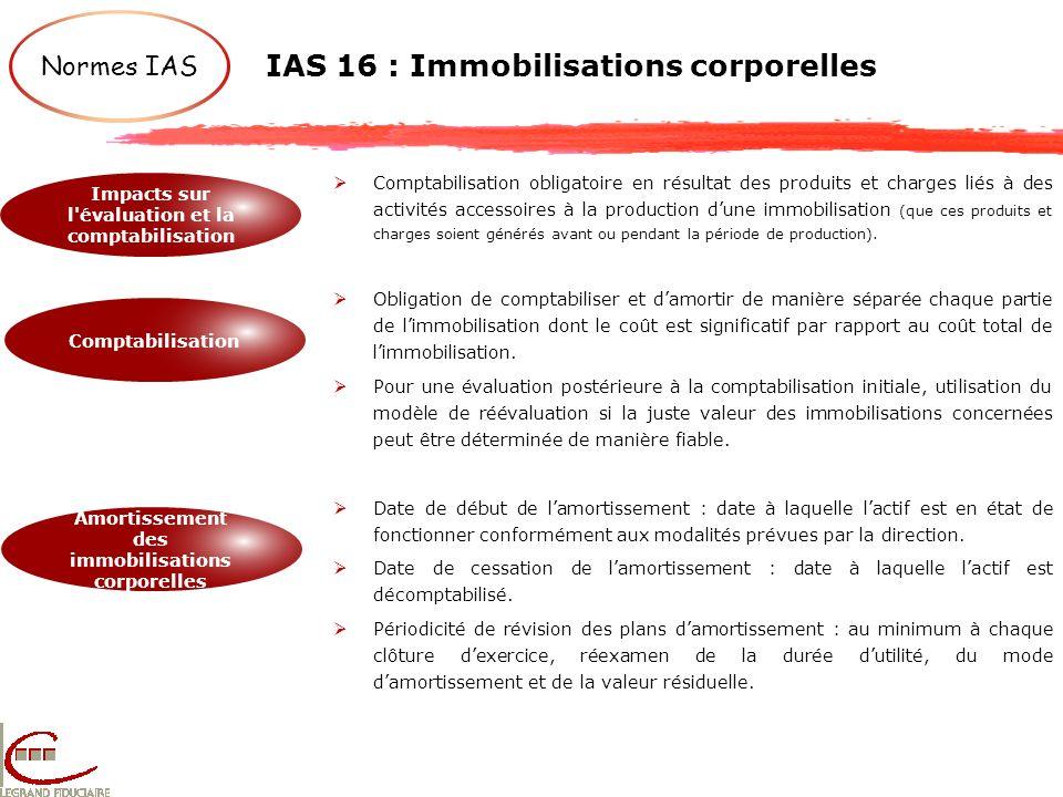 IAS 16 : Immobilisations corporelles Normes IAS Impacts sur l'évaluation et la comptabilisation Comptabilisation Amortissement des immobilisations cor