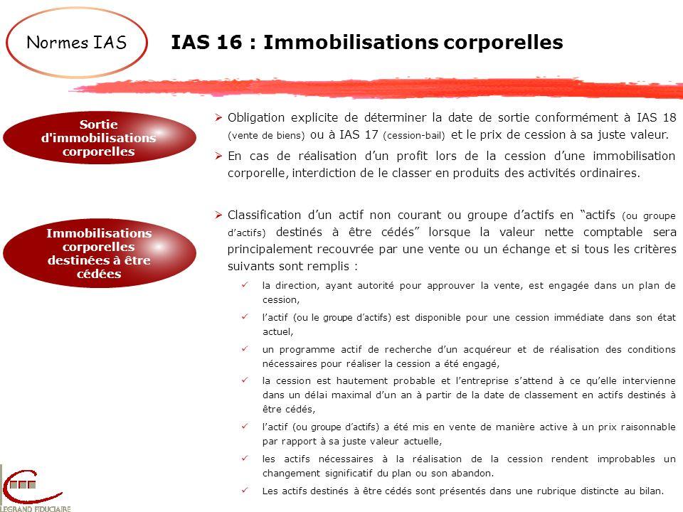 IAS 16 : Immobilisations corporelles Normes IAS Sortie d'immobilisations corporelles Immobilisations corporelles destinées à être cédées Obligation ex