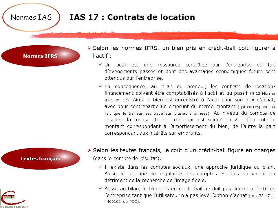 IAS 17 : Contrats de location Normes IAS Normes IFRS Textes français Selon les normes IFRS, un bien pris en crédit-bail doit figurer à l'actif : Un ac
