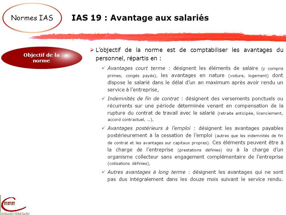 Normes IAS IAS 19 : Avantage aux salariés Objectif de la norme Lobjectif de la norme est de comptabiliser les avantages du personnel, répartis en : Av