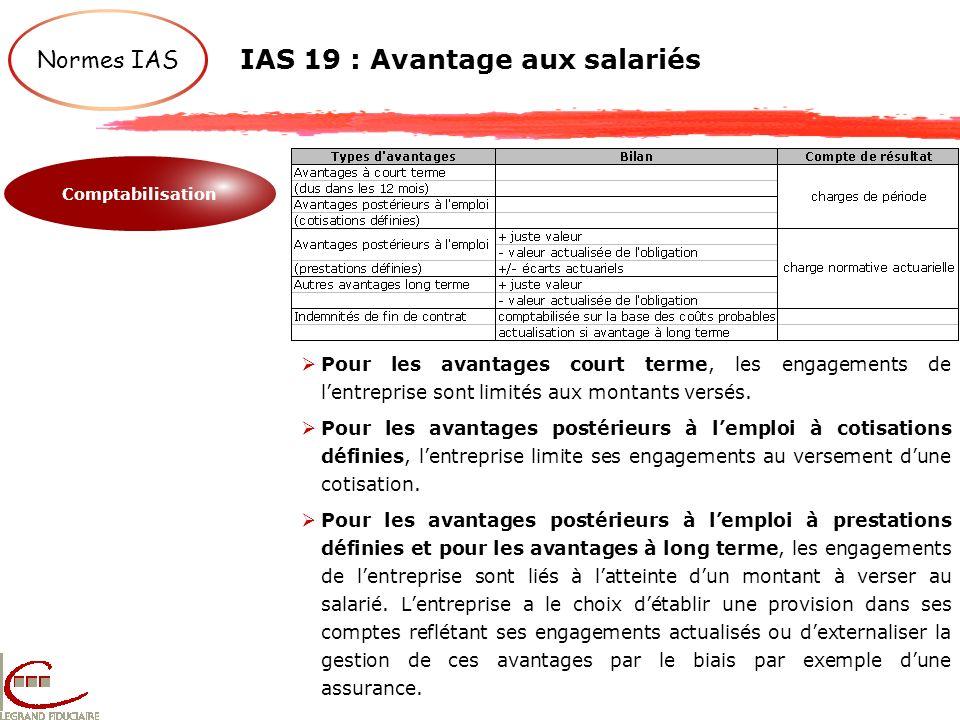 Normes IAS IAS 19 : Avantage aux salariés Comptabilisation Pour les avantages court terme, les engagements de lentreprise sont limités aux montants ve