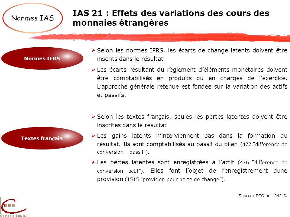 IAS 21 : Effets des variations des cours des monnaies étrangères Normes IAS Normes IFRS Textes français Selon les normes IFRS, les écarts de change la