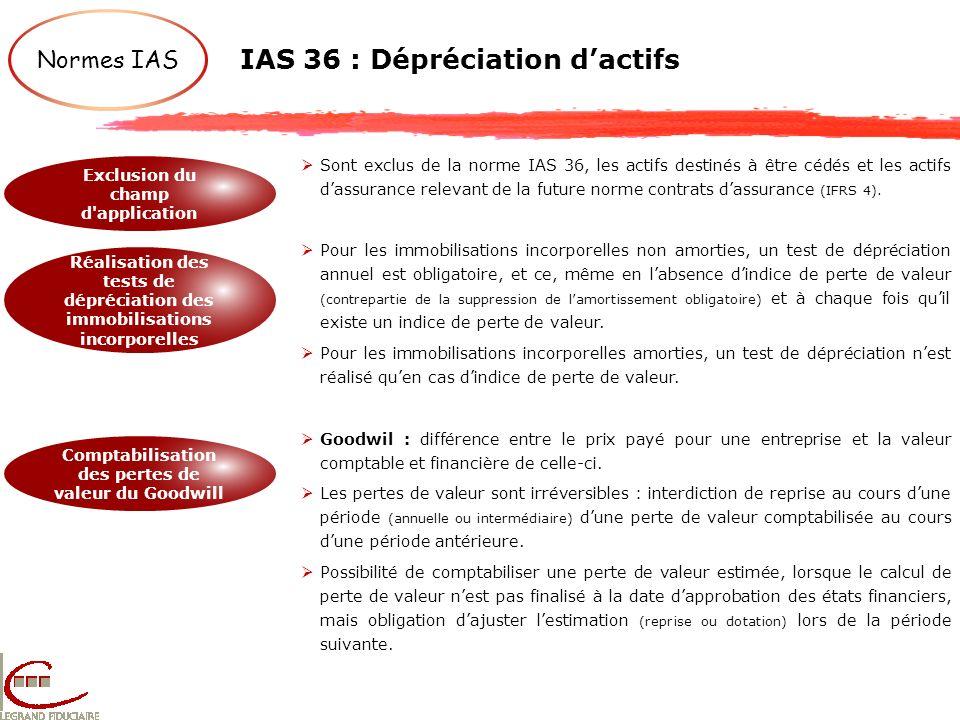 IAS 36 : Dépréciation dactifs Normes IAS Exclusion du champ d'application Réalisation des tests de dépréciation des immobilisations incorporelles Comp