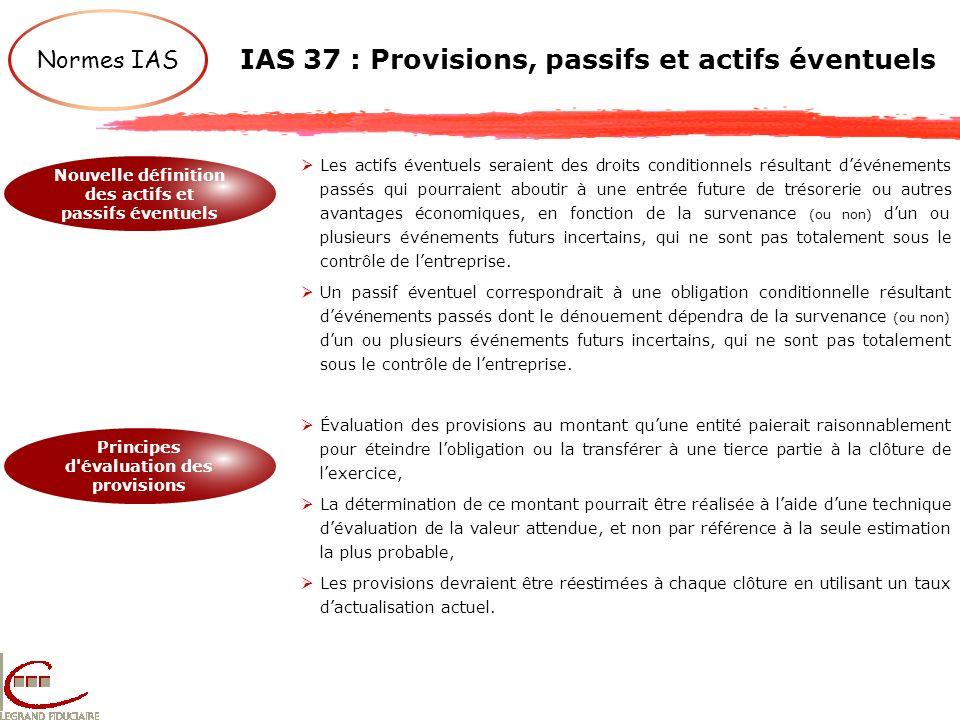 IAS 37 : Provisions, passifs et actifs éventuels Normes IAS Nouvelle définition des actifs et passifs éventuels Principes d'évaluation des provisions