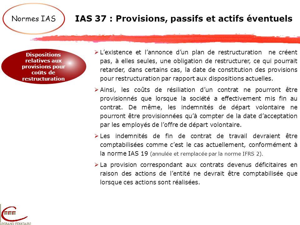 IAS 37 : Provisions, passifs et actifs éventuels Normes IAS Dispositions relatives aux provisions pour coûts de restructuration Lexistence et lannonce