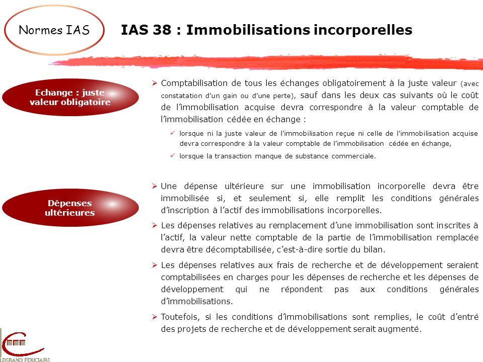 IAS 38 : Immobilisations incorporelles Normes IAS Echange : juste valeur obligatoire Dépenses ultérieures Comptabilisation de tous les échanges obliga