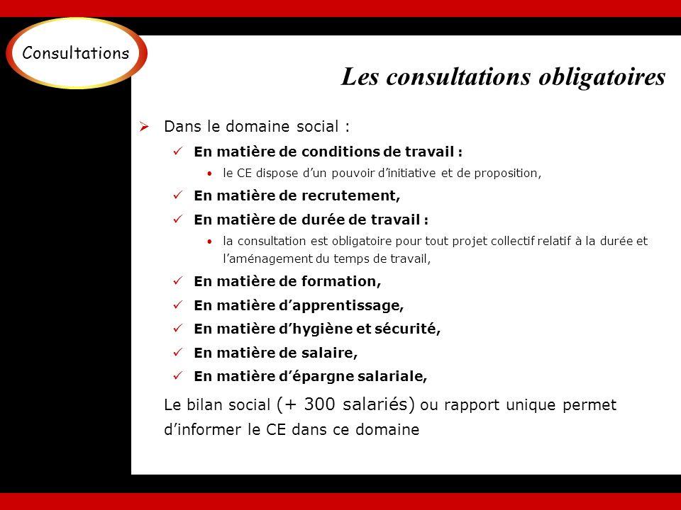 Les consultations obligatoires Dans le domaine social : En matière de conditions de travail : le CE dispose dun pouvoir dinitiative et de proposition,