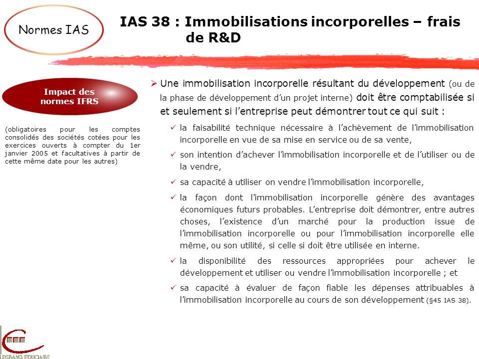 IAS 38 : Immobilisations incorporelles – frais de R&D Normes IAS Impact des normes IFRS (obligatoires pour les comptes consolidés des sociétés cotées