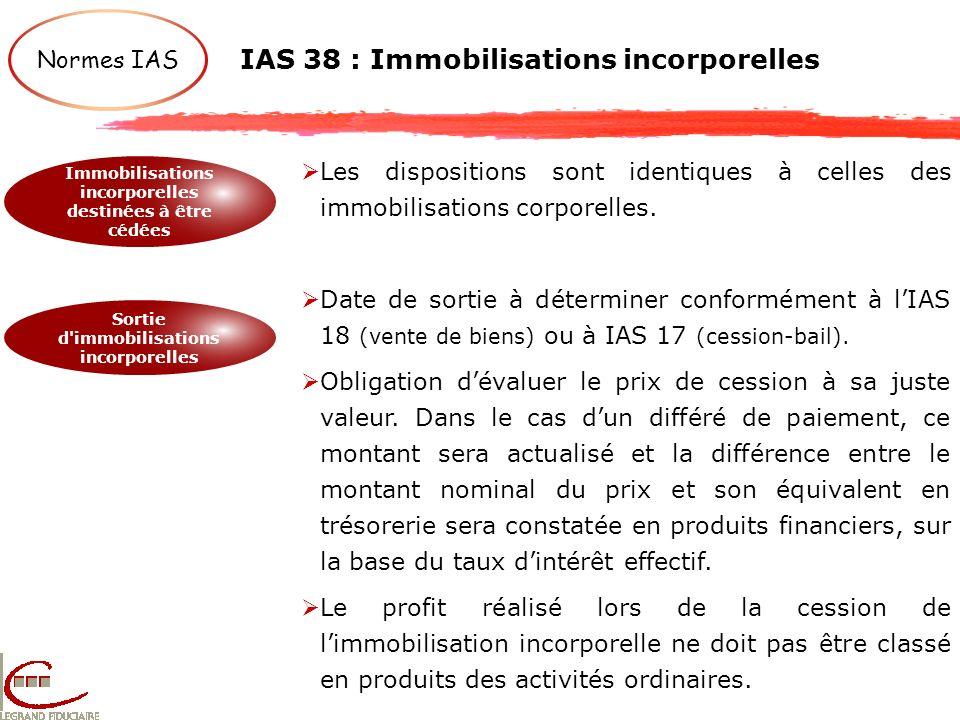 IAS 38 : Immobilisations incorporelles Normes IAS Immobilisations incorporelles destinées à être cédées Sortie d'immobilisations incorporelles Les dis